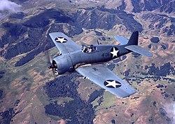 Grumman F6F-3 Hellcat of VF-1 in flight over California (USA), in 1943 (80-G-K-605).jpg