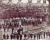 Kaiser Wilhelm I laying the foundation stone for the Reichstag building