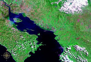 Gulf of Nicoya - Gulf of Nicoya seen from space (false color)