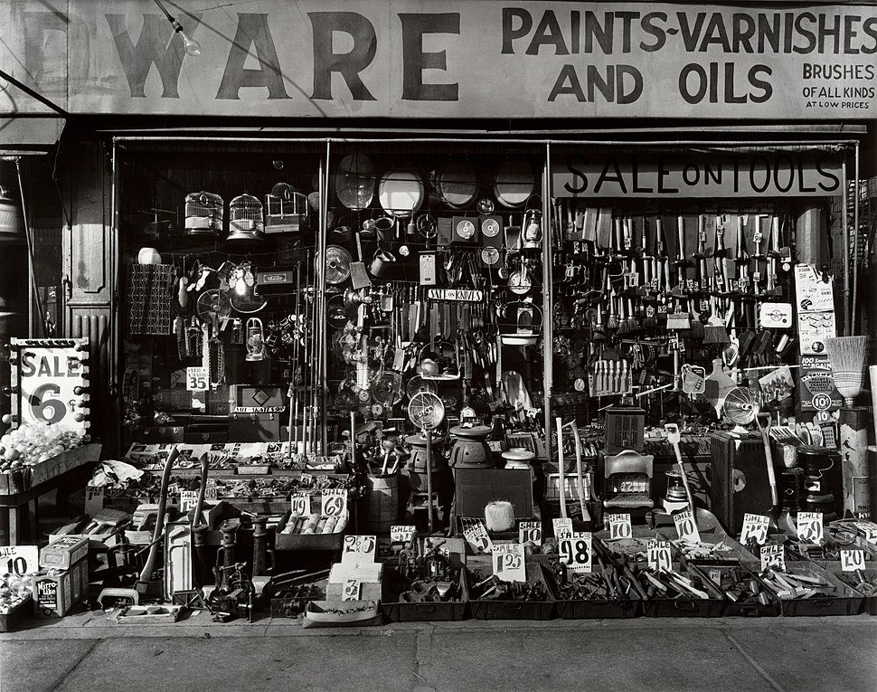 HARDWARE STORE 316-318 Bowery at Bleeker Street in New York City by Berenice Abbott in 1938