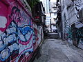 HK Sheung Wan evening Tai Ping Shan Street back lane wall graffiti July-2015 DSC 002.JPG