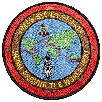 HMAS Sydney (FFG 03) - Commemorative badge of the 1990 world voyage, on display in the Australian National Maritime Museum, Sydney.