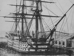 HMS Duke of Wellington в сухом доке в Девонпорте 5 марта 1854 года
