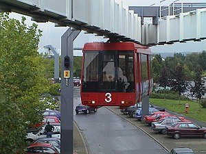 Elevated railway - H-Bahn Dortmund, a monorail suspension people mover
