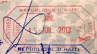Visa policy of Haiti - Image: Haiti entry passport stamp
