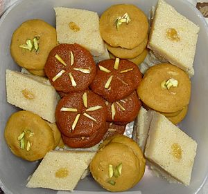 Gajar ka halwa - Gajar ka Halwa as mithai (red discs present in middle)