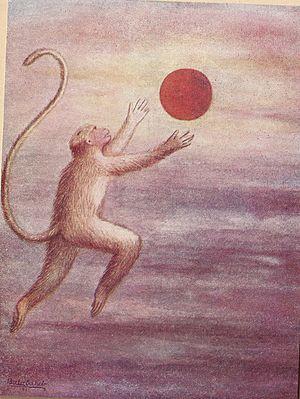 Hanuman - Child Hanuman reaches for the Sun thinking it is a fruit by BSP Pratinidhi