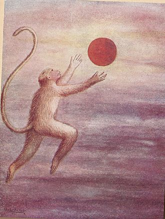 Hanuman - Child Hanuman reaches for the Sun thinking it is a fruit by BSP Pratinidhi