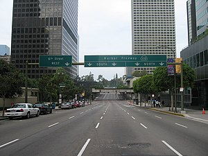 Interstate 110 and State Route 110 (California) - Entrance to the Harbor Freeway in downtown
