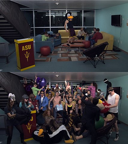 Two screenshots from before and after the drop in a Harlem Shake video