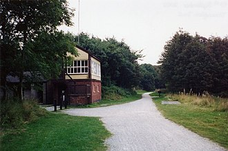 Tissington Trail - The restored Hartington Signal Box beside the trail. It is now an information centre.