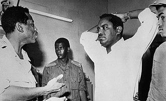 1971 Sudanese coup d'état -  Babiker Al Nour  being interrogated by Khalid Hassan Abbas.