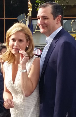 Ted Cruz presidential campaign, 2016 - Cruz with his wife Heidi at a rally in Houston, March 2015