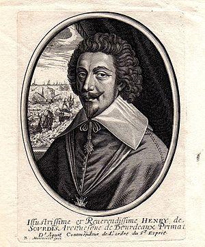 Naval Battle of Tarragona (July 1641) - Portrait of Henri d'Escoubleau de Sourdis, commander of the French fleet and Archbishop of Bordeaux.