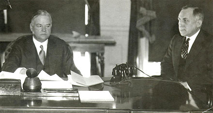 Herbert Hoover in the Oval Office with Ted Joslin, 1932 Herbert Hoover and Ted Joslin.jpg