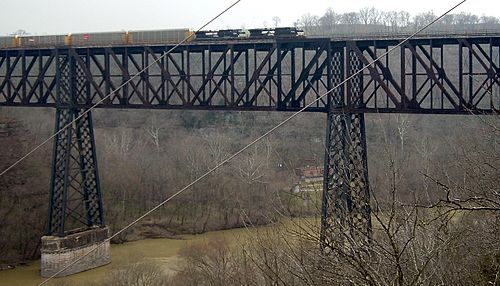 High Bridge over the Kentucky River was the tallest rail bridge in the world when it was completed in 1877. High Bridge in Kentucky.jpg