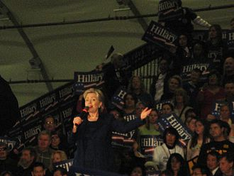 Hillary Clinton presidential campaign, 2008 - Hillary Clinton campaigning for the Democratic nomination for President of the United States. South Hall, San Jose, California, February 1, 2008.