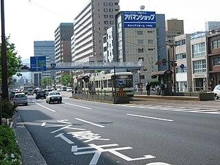 Honkawa-cho Station tram station in Hiroshima, Hiroshima prefecture, Japan