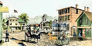 Port Jefferson, New York - A postcard of Hotel Square, corner of Main and East Main, with labels displaying the Townsend House hotel and the village's first post office in the late 19th century