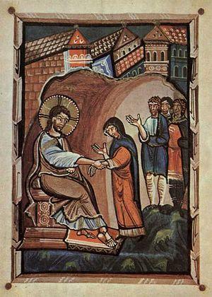 Hitda Codex - Image: Hitda Evangeliar Heilung Schwiegermutter