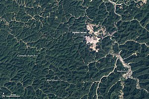 Mountaintop removal mining - The Hobet mine in West Virginia taken by NASA LANDSAT in 1984