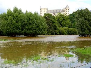 Alme (river) - Flood of the Alme on August 22nd 2007 near Wewelsburg