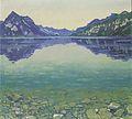Hodler - Thunersee mit symmetrischer Spiegelung vor Sonnenaufgang - 1904.jpg
