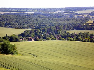 Hollingbourne as seen from the North Downs