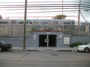 Hollis LIRR Station; 99th Avenue and 193rd Street entrance.JPG