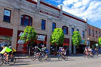 Hood River, Oregon - Bicyclists in downtown Hood River