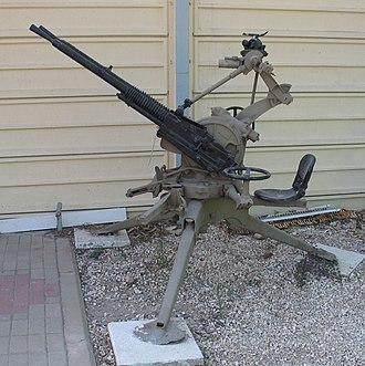 Hotchkiss M1929 machine gun - A mitrailleuse de 13.2 mm CA mle 1930, in Batey ha-Osef Museum, Tel Aviv, Israel.