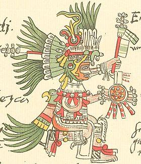 Huitzilopochtli représenté dansle Codex Telleriano-Remensis