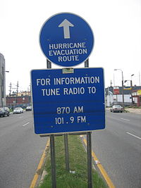 Hurricane Route sign Tulane Avenue floodlines.jpg