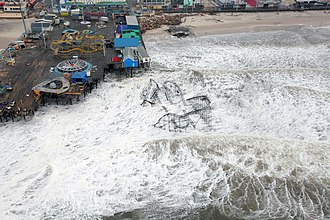 Effects of Hurricane Sandy in New Jersey - Damage to Casino Pier, including the Star Jet roller coaster in Seaside Heights