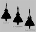 IAI Kfir C2, Atlas Cheetah C and Atlas Cheetah D top-view silhouettes.png
