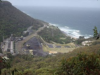 Illawarra Coke Company - Coalcliff village with the Tasman Sea and the beach as seen from the south.