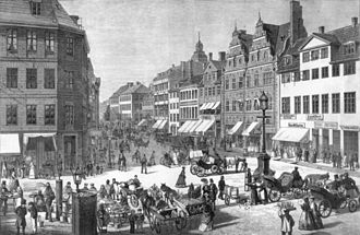 Amagertorv - Amagertorv in 1889, illustration from Illustreret Tidende