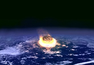 Global catastrophic risk - Artist's impression of a major asteroid impact. An asteroid with an impact strength of a billion atomic bombs may have caused the extinction of the dinosaurs.