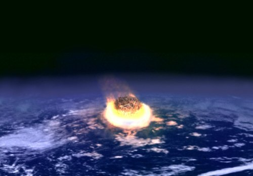 A major impact event releases the energy of several million nuclear weapons detonating simultaneously when an asteroid of only a few kilometers in diameter collides with a larger body such as the Earth (image: artist's impression). Impact event.jpg