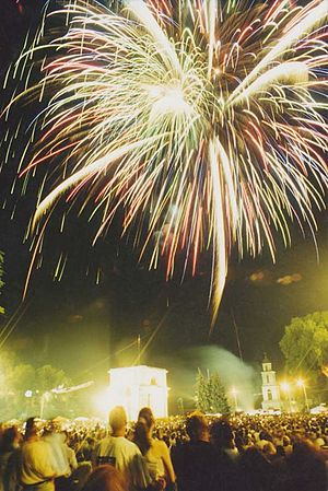 Independence Day of Republic of Moldova - Fireworks in Chisinau on Independence Day in 2003.