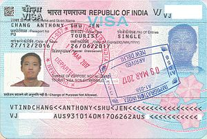 Visa policy of India - Indian tourist visa issued in Australia with Indian entry and exit stamps