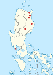 Map of the Northern Philippines showing known locations of sightings or collections of the Isabela oriole