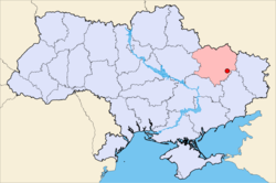 Map of Ukraine with Izyum highlighted.
