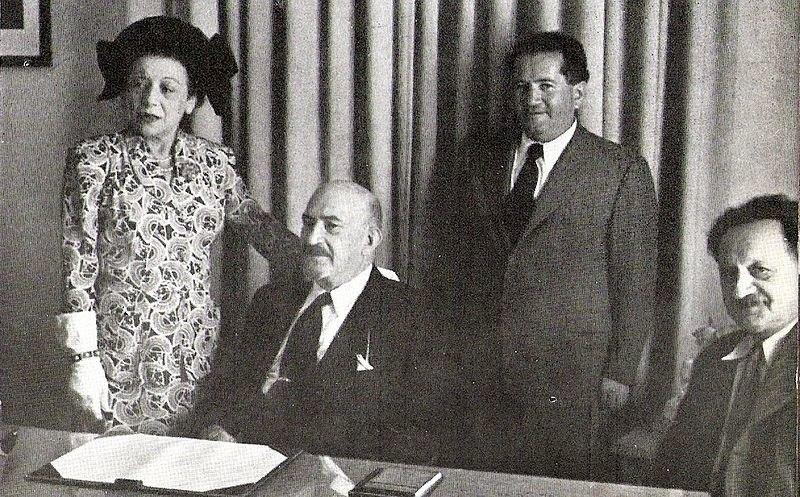 Israel's Cabinet Secretary Ze'ev Sherf reporting to President Chaim Weizmann and to Knesset Speaker Yosef Sprinzak c. 1952
