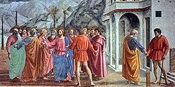 The Tribute Money, fresco in the Brancacci Chapel in Santa Maria del Carmine, Florence