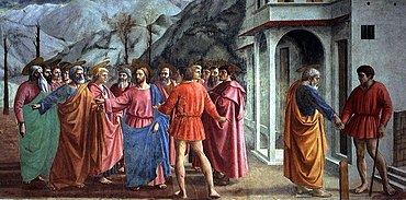 Fresco. Jesus' disciples question him anxiously. Jesus gestures for St Peter to go to the lake. At right, Peter gives a coin, found in the fish, to a tax-collector