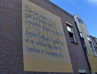 J. Bernlef - The start of a Bernlef poem on Sint Ursulasteeg in Leiden