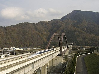 Chūō Shinkansen - A maglev train on the Yamanashi Test Track, November 2005