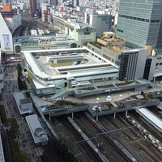 Shinjuku Station - Aerial view from south (March 2016)