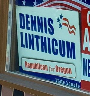 Dennis Linthicum - Dennis Linthicum campaign sign at the Jackson County Republican Party headquarters, August 2016